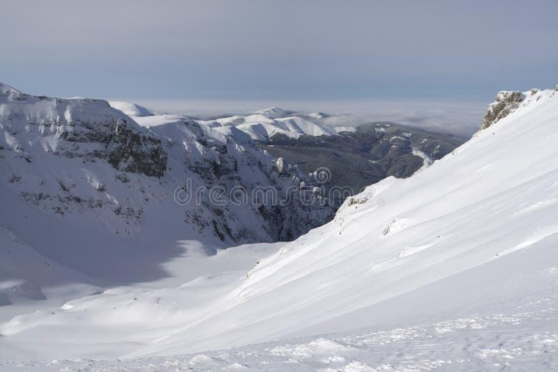 深多雪的谷 库存照片
