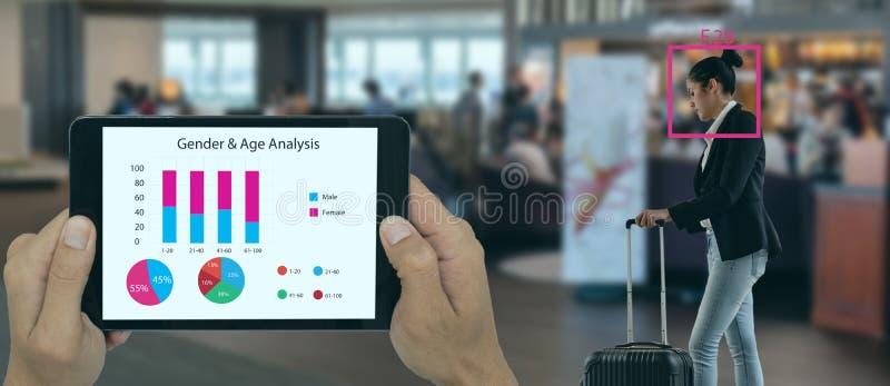 深度机器学习概念、商店或智能零售应用人工智能技术与面部识别技术进行分析 免版税图库摄影