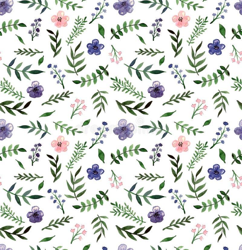 深深紫罗兰色的水彩和浅粉红色的花无缝的纹理 皇族释放例证