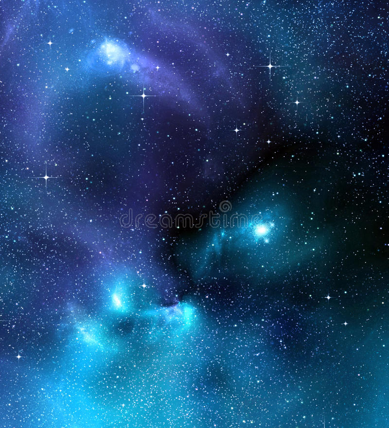 深满天星斗星系nebual的外层空间 库存例证