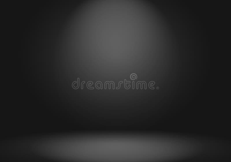 深灰抽象豪华的迷离和黑梯度,作为背景演播室墙壁用于显示您的产品 皇族释放例证