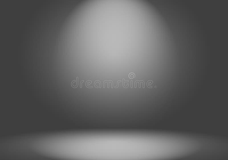 深灰抽象豪华的迷离和黑梯度,作为背景演播室墙壁用于显示您的产品 库存例证
