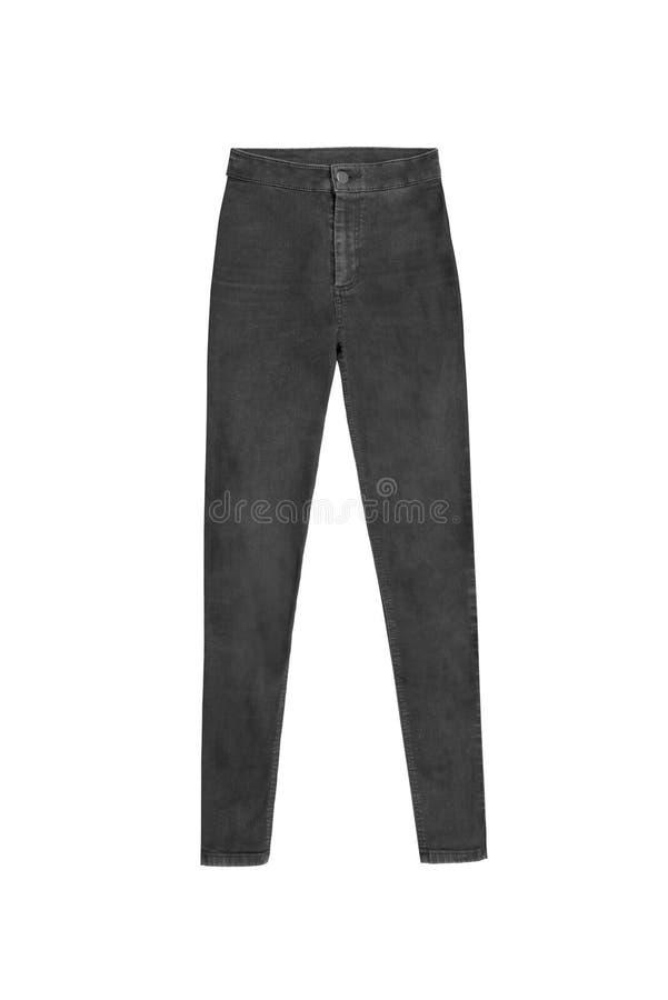 深灰皮包骨头的高腰部牛仔裤裤子,隔绝在白色backg 库存照片