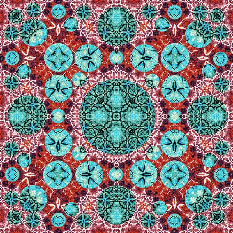 深红明亮的蓝绿色圈子方形的鞋带无缝的样式 皇族释放例证