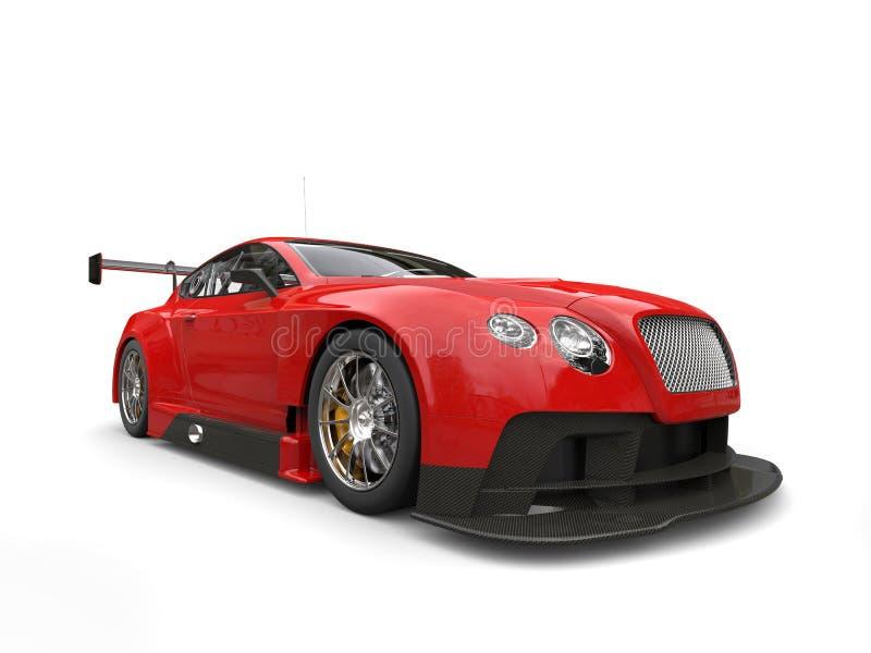 深红现代超级车的低角度射击 向量例证