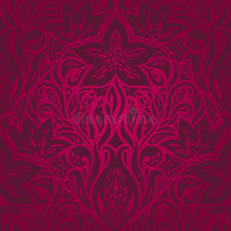 深红装饰花卉华丽装饰传染媒介 皇族释放例证