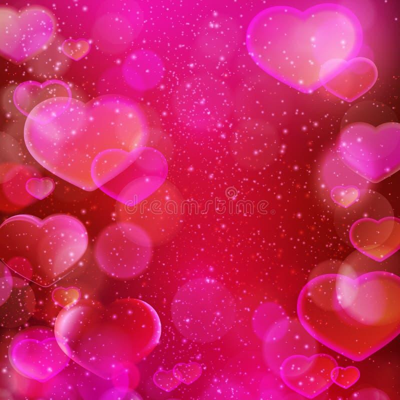 深红洋红色心脏迷离,浪漫题材 库存例证