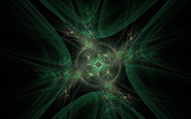深绿树荫一个阴沉的孔的抽象图象与一个转动的中心的与瓣里面在黑背景 库存例证