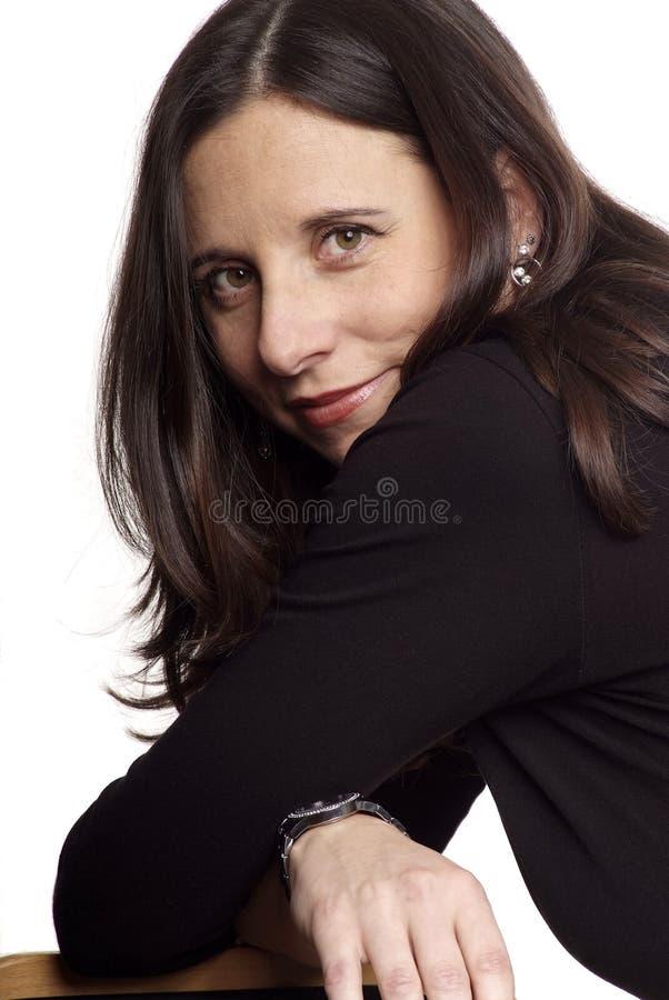 深色头发的孕妇 免版税库存照片
