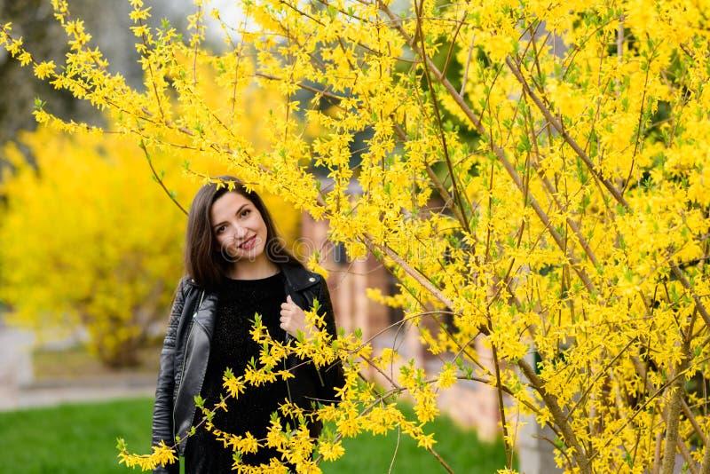 深色摆在秋天庭院里 年轻美好浅黑肤色的男人微笑 ?? 与绿色叶子的树 庭院,公园 r 图库摄影