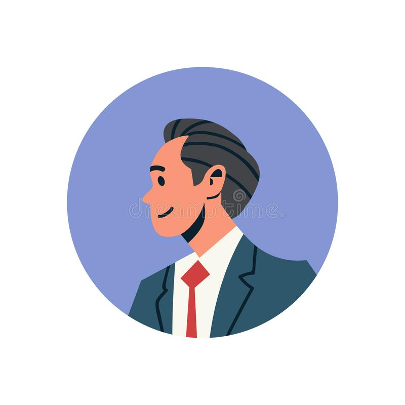 深色的商人具体化人面孔外形象概念网上支助服务男性漫画人物画象 向量例证