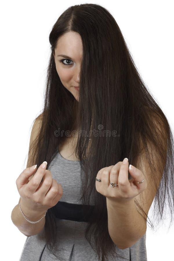 深色的女孩头发她 库存图片
