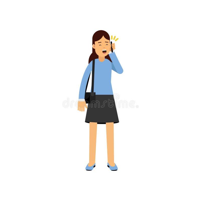深色的女孩谈话由电话,使用电子设备传染媒介例证的女学生 库存例证