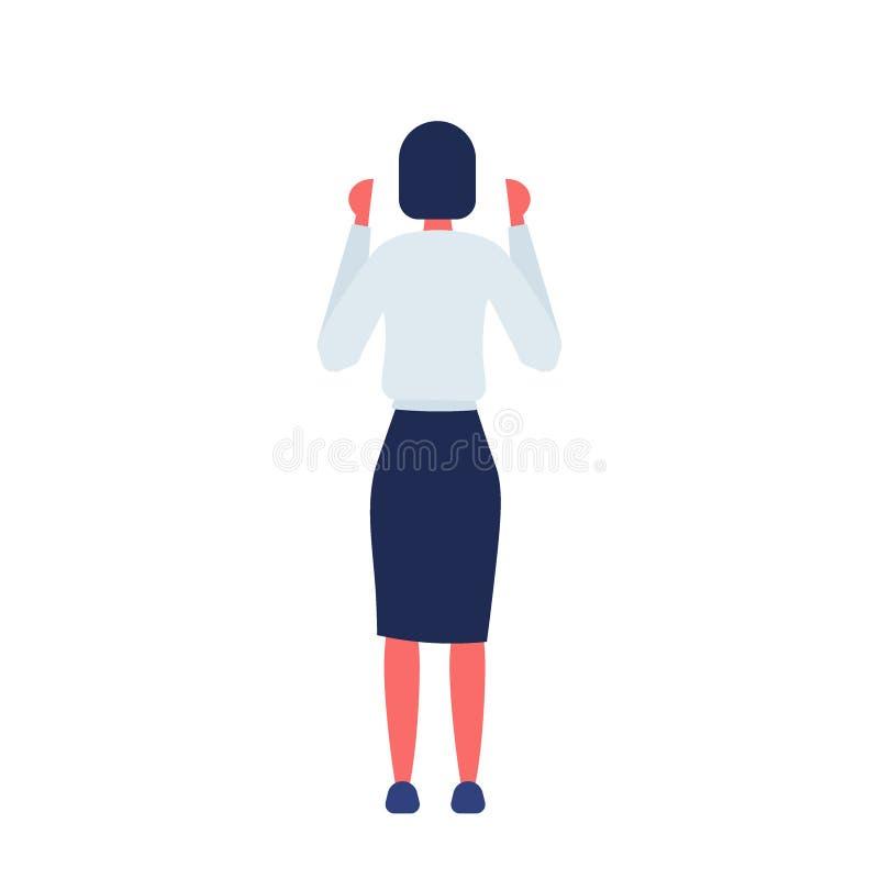 深色的女实业家背面图身分姿势企业介绍概念妇女全长母卡通人物 库存例证