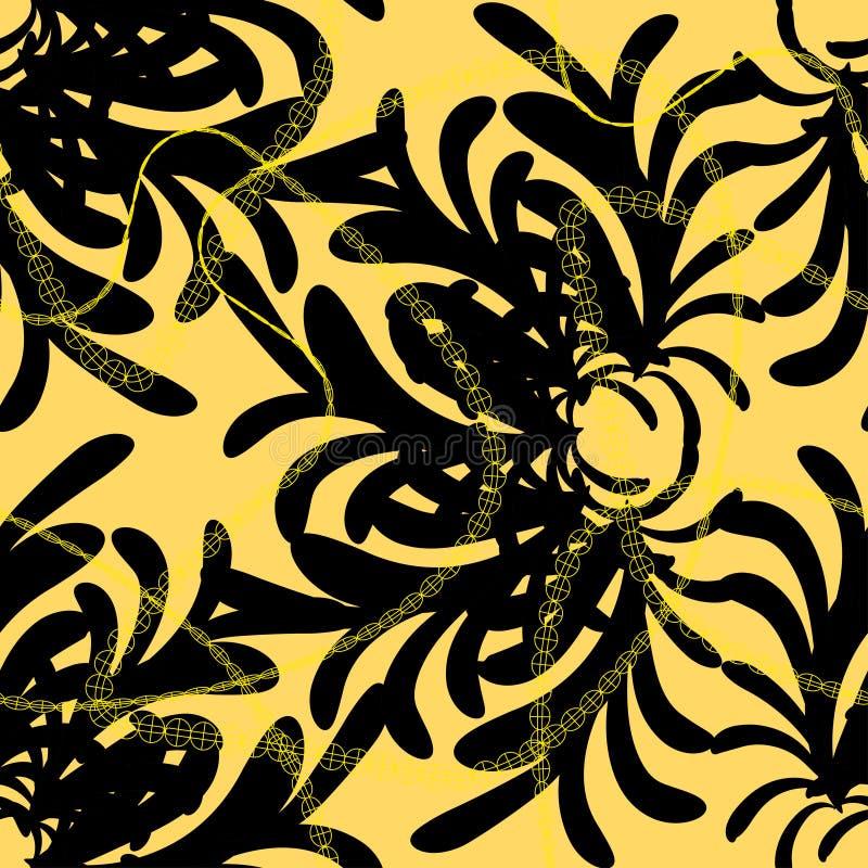 深色的抽象花饰与金黄链子的在浅褐色的背景 皇族释放例证