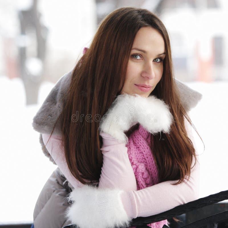 深色的日冬天妇女 免版税库存图片