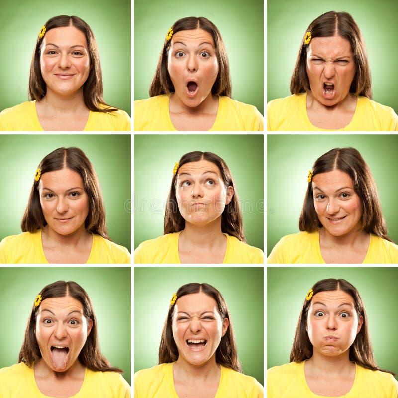 深色的长的头发成人白种人妇女正方形汇集套面孔表示喜欢愉快,哀伤,恼怒,惊奇,在绿色的哈欠 图库摄影