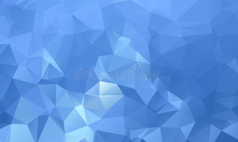 深蓝几何弄皱的三角低多origami样式梯度 库存例证