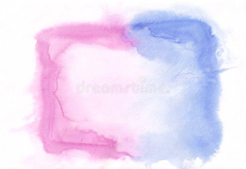 深蓝和桃红色混杂的同色而浓淡不同的水彩水平的梯度背景 它` s有用为贺卡,华伦泰 向量例证