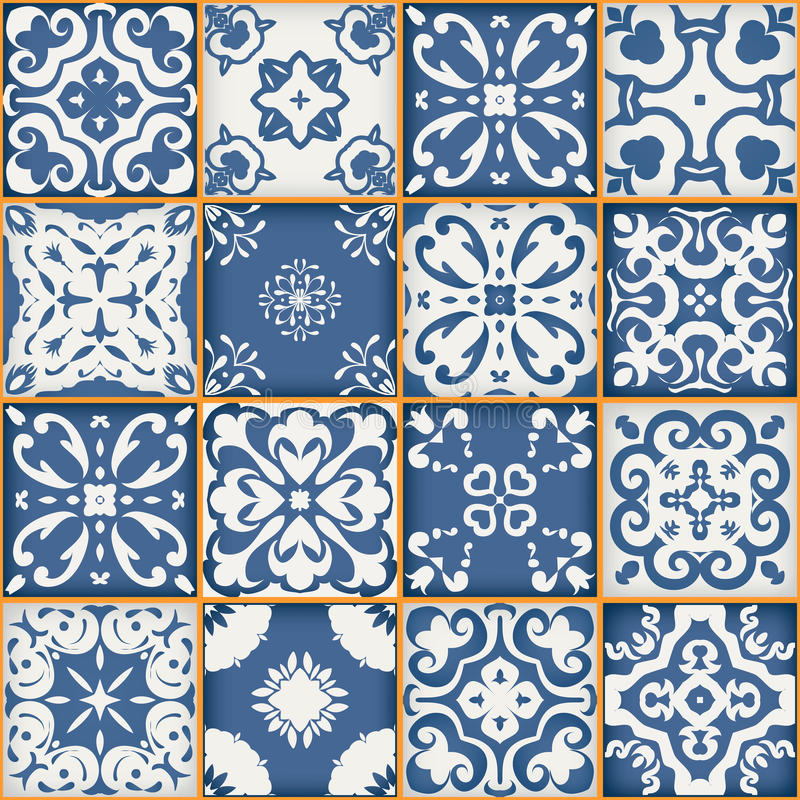 从深蓝和白色摩洛哥瓦片,装饰品的华美的无缝的补缀品样式 能为墙纸使用 皇族释放例证