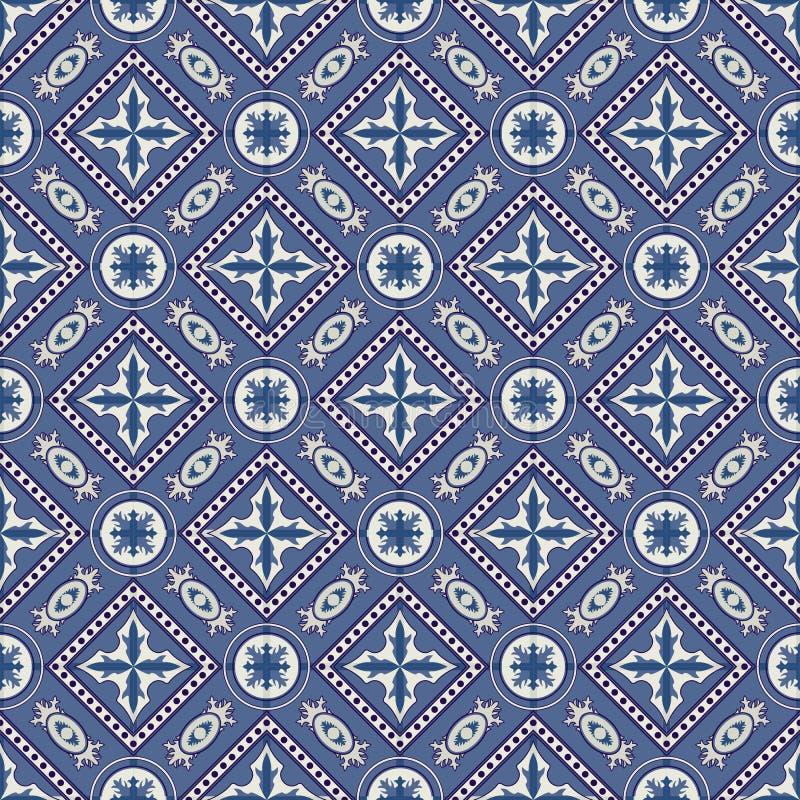 从深蓝和白色摩洛哥,葡萄牙瓦片, Azulejo,装饰品的华美的无缝的补缀品样式 一点纹理 皇族释放例证