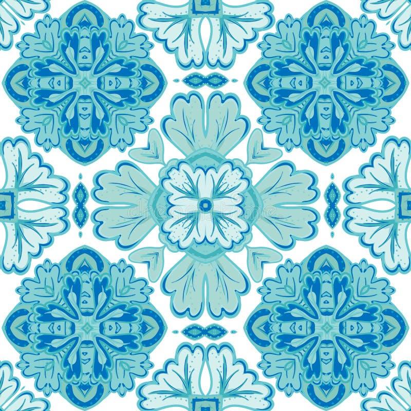 从深蓝和白色摩洛哥,葡萄牙瓦片, Azulejo,装饰品的华美的无缝的补缀品样式 库存例证