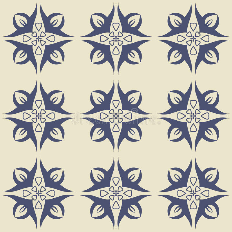 从深蓝和白色花饰的华美的无缝的样式 向量例证