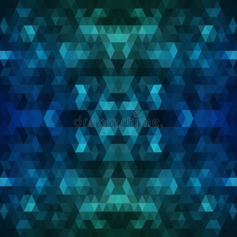 深蓝多角形背景 与梯度的五颜六色的抽象例证 织地不很细样式可以使用为 库存例证
