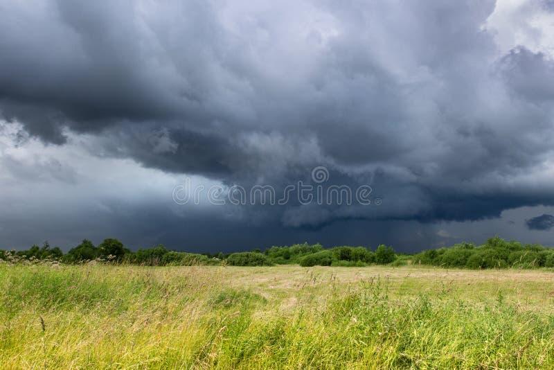 深蓝天空和绿色领域在雷暴前 免版税库存照片