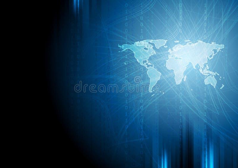 深蓝技术二进制背景 向量例证