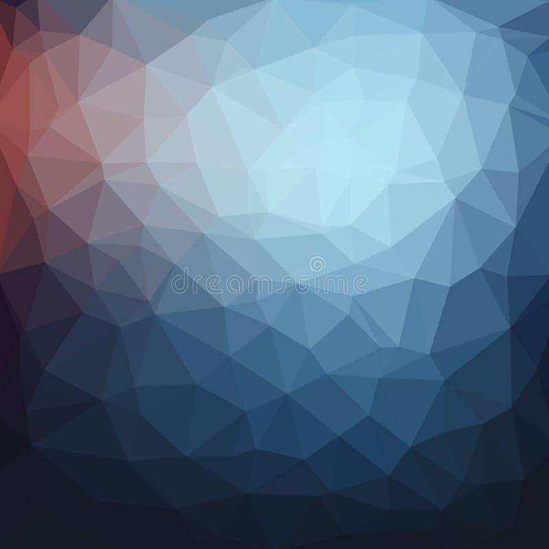 深蓝抽象几何,低多样式传染媒介例证 向量例证