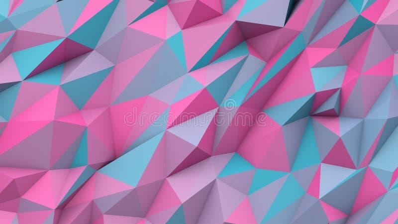 深蓝桃红色抽象三角多颜色几何形状背景 库存例证
