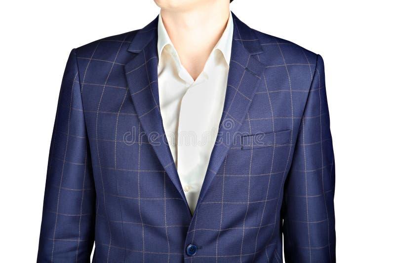 深蓝棋盘衣服外套,婚姻的服装新郎,在whi 库存照片