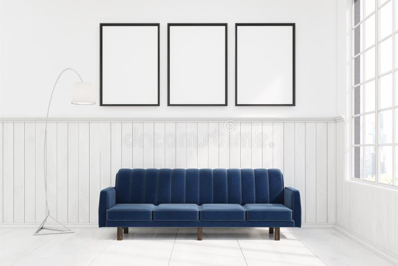 深蓝沙发在有三张海报的一间屋子里 库存例证