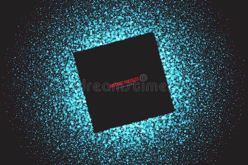 深蓝淡光发光的圆的微粒传染媒介背景 向量例证