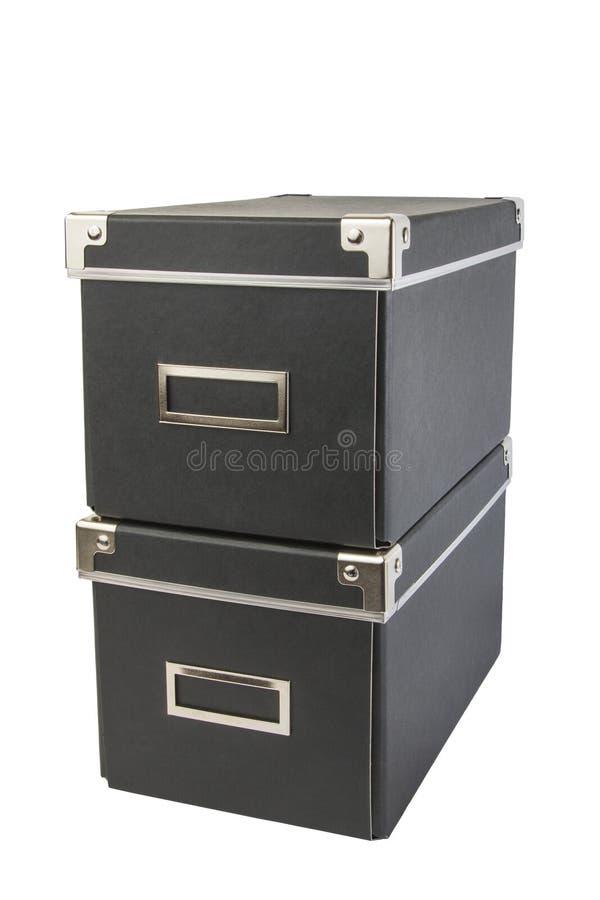深蓝的办公室和的家的箱子 图库摄影
