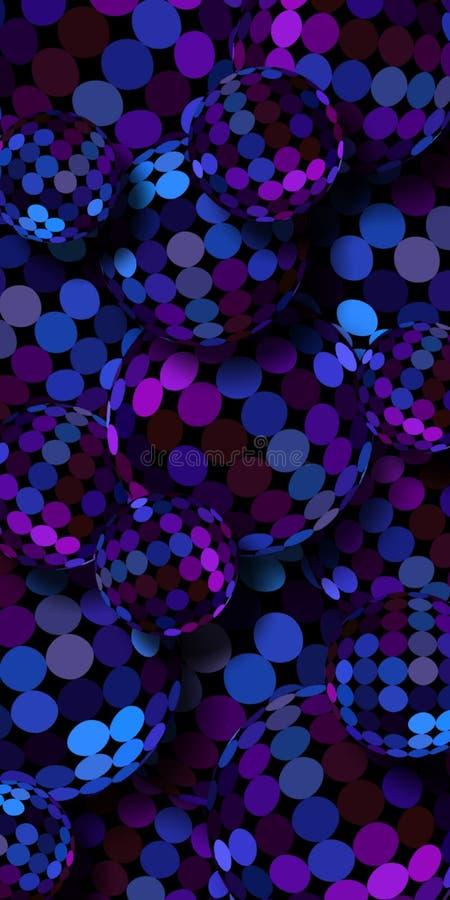 深蓝紫罗兰色玻璃球形3d垂直的横幅 几何水晶抽象样式 库存例证