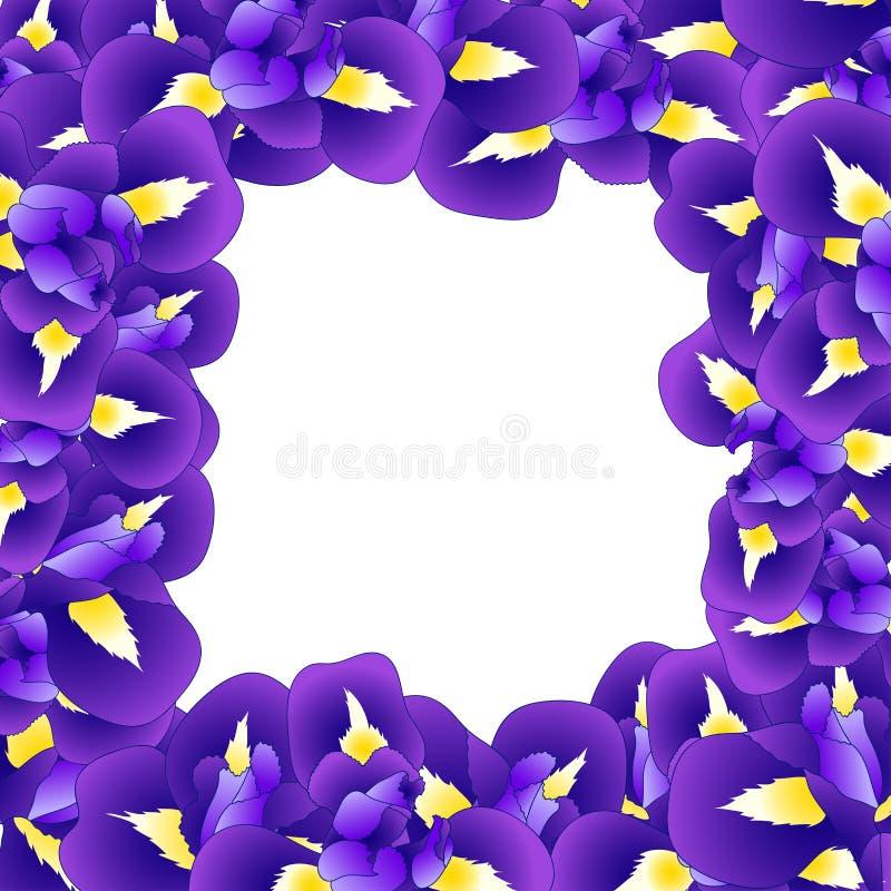 深蓝紫色虹膜花边界 也corel凹道例证向量 皇族释放例证