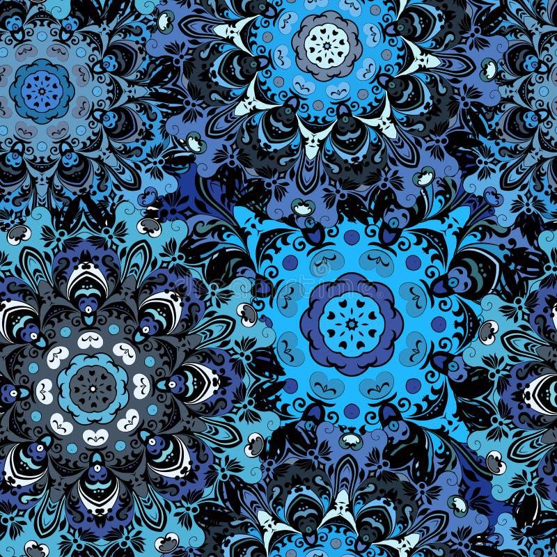 深蓝色上色了与东部花卉orament的无缝的样式 在阿兹台克人,土耳其语,巴基斯坦的花卉东方设计 库存例证