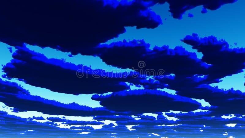 深蓝色云彩 向量例证