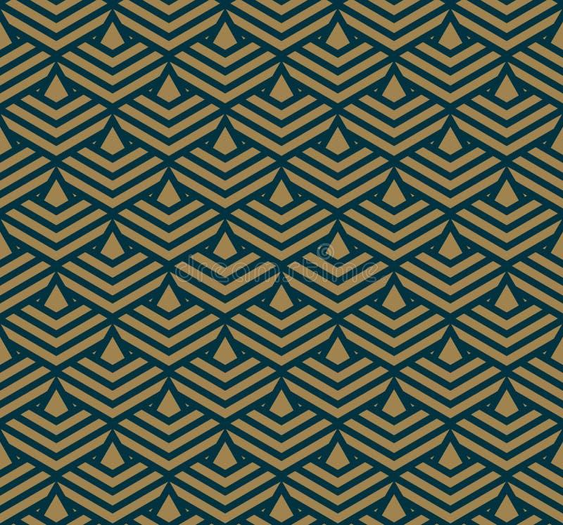 与线,菱形的抽象几何样式无缝的传染媒介背景 深蓝色和金子纹理 向量例证