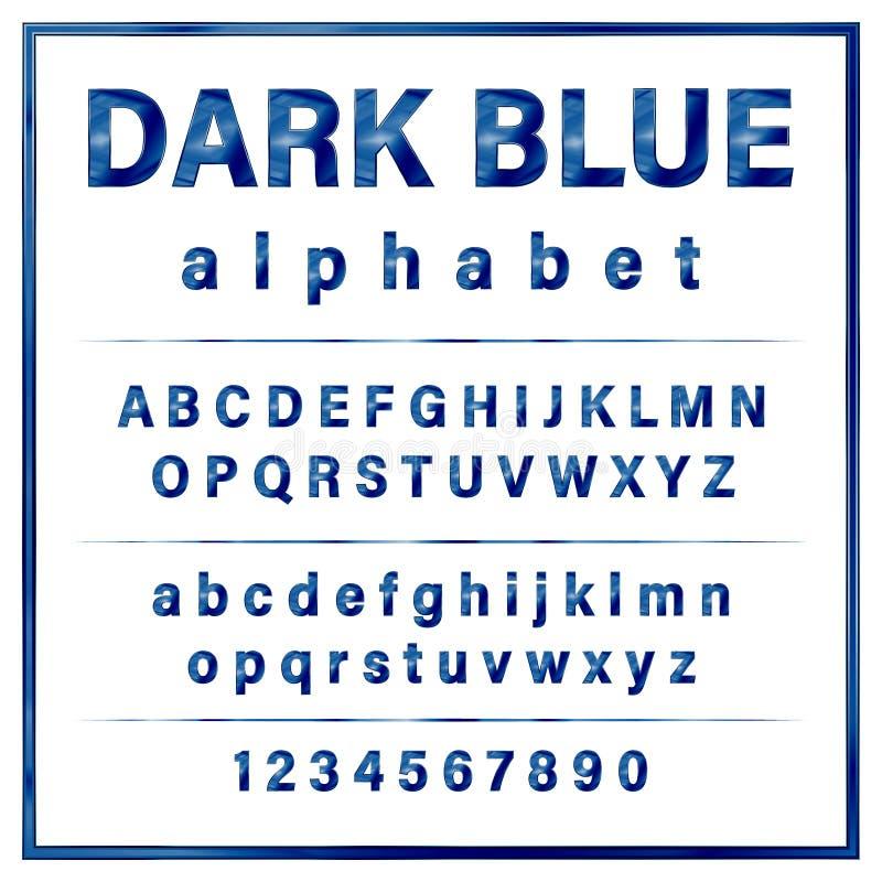 深蓝色的金属镀铬物字母表字体 皇族释放例证
