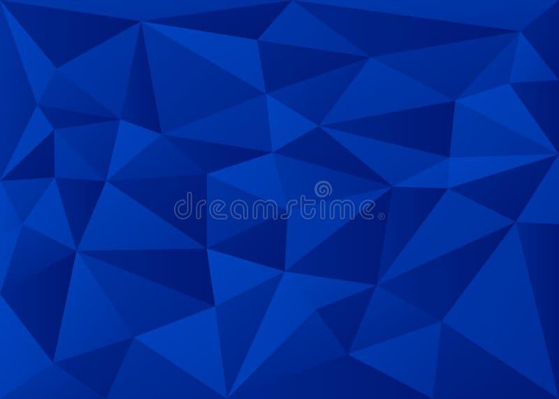 深蓝色3D多边形几何三角形背景矢量图 免版税库存照片