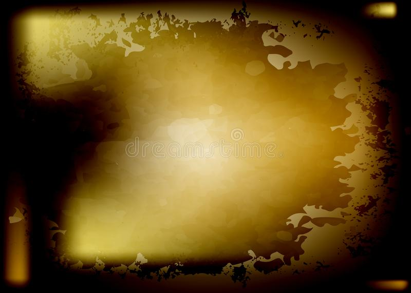 深黄水彩背景,生锈的钢屏幕保护程序 抽象生锈的平板以抓痕 葡萄酒脏的纹理 向量例证