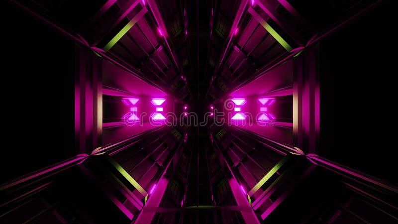 深黑色有桃红色发光的人工制品3d翻译的空间隧道 向量例证