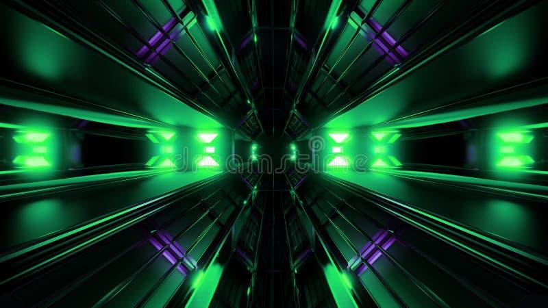 深黑色有绿色发光的人工制品3d翻译的空间隧道 库存例证