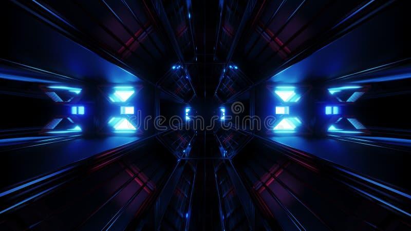 深黑色有蓝色发光的人工制品3d翻译的空间隧道 库存例证