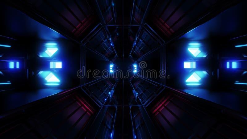 深黑色有蓝色发光的人工制品3d翻译的空间隧道 向量例证