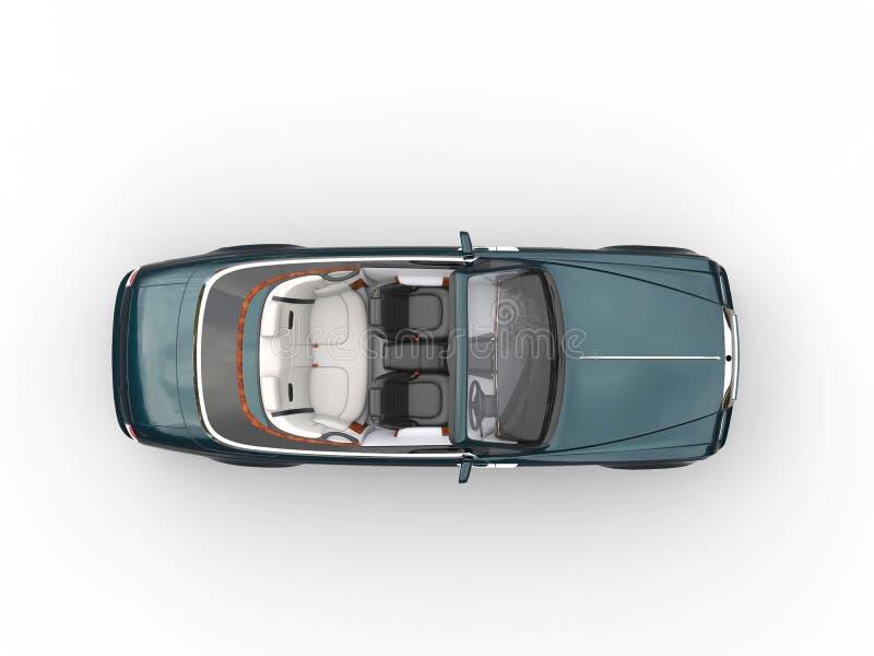 深绿敞蓬车豪华车的顶视图 皇族释放例证
