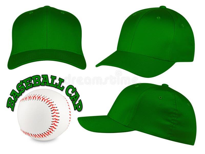 深绿棒球帽集合 免版税库存照片